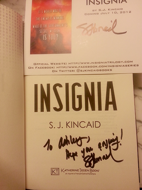 Signed copy of Insignia by S.J. Kincaid