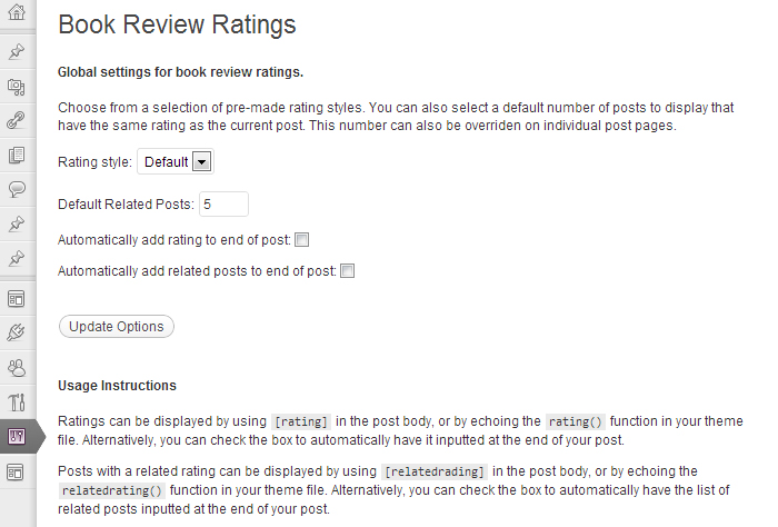 Book Rating Plugin - Options Page