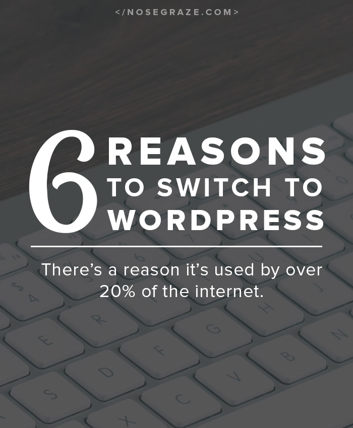 6 reasons why you should switch to WordPress: there's a reason it's used by over 20% of the internet