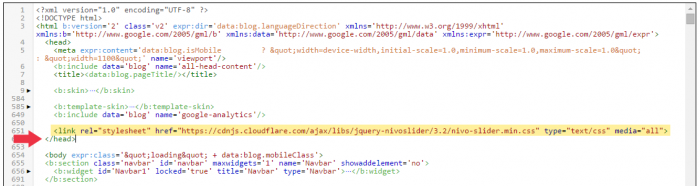 Finding the closing </head> tag in the Blogger template editor.
