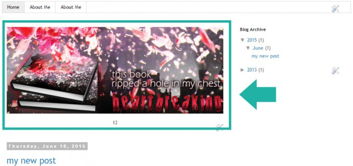Screenshot of image slider in Blogger blog