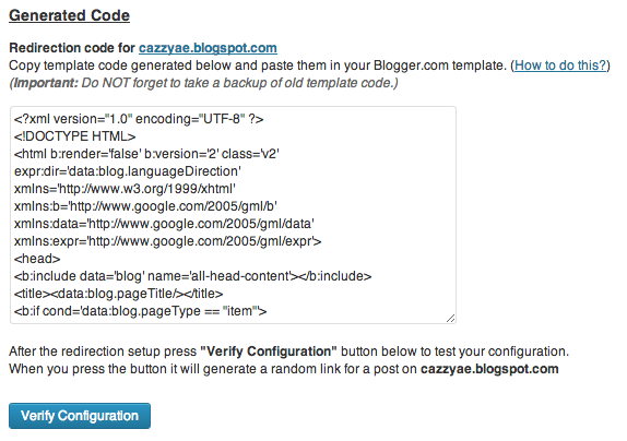 Blogger to WordPress Redirection Code