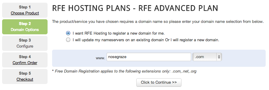RFE Hosting - Register a Domain Name