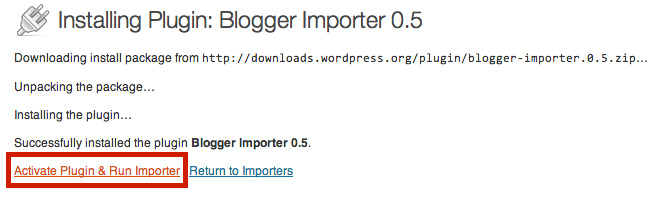 WordPress - Activate & Run Blogger Importer