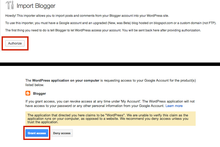 Authorize WordPress to use Blogger