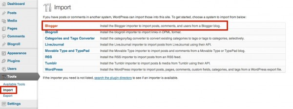 Blogger importer tool in WordPress