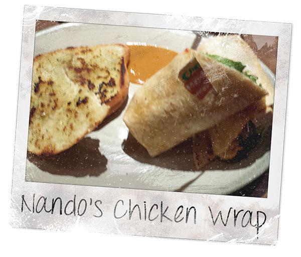 Nando's Chicken Wrap and Garlic Bread