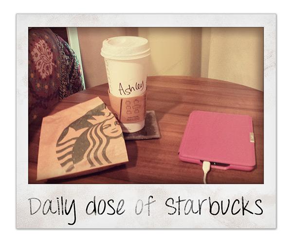 Starbucks hot chocolate and panini next to Kindle