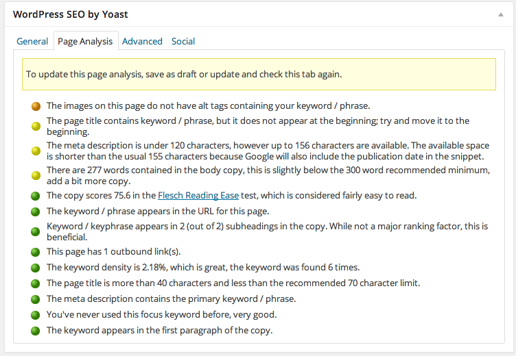 Focus Keyword Analysis from the WordPress SEO by Yoast Plugin