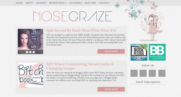 Nose Graze girl and butterflies blog design