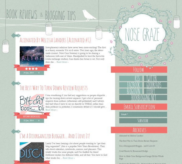 Nose Graze blog design with flowers and mason jars