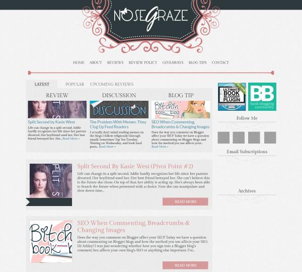 Nose Graze pink and grey design