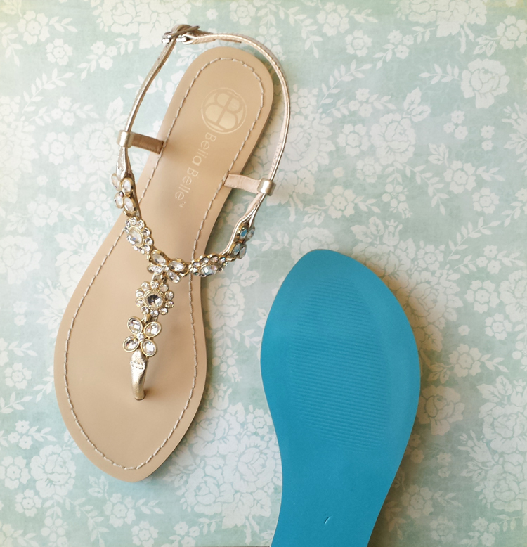 Astrid   Strappy, Flat Wedding Shoes With Blue Bottoms