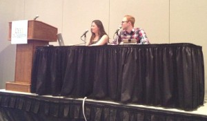Ashley Evans and Jeremy West speaking at Design 101 Panel