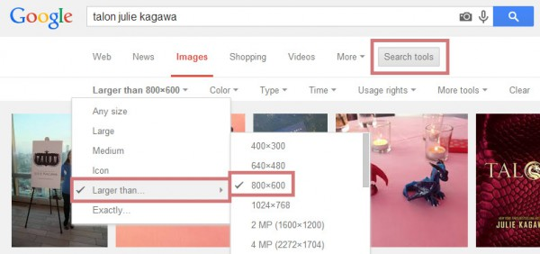 Search for Google images by image size