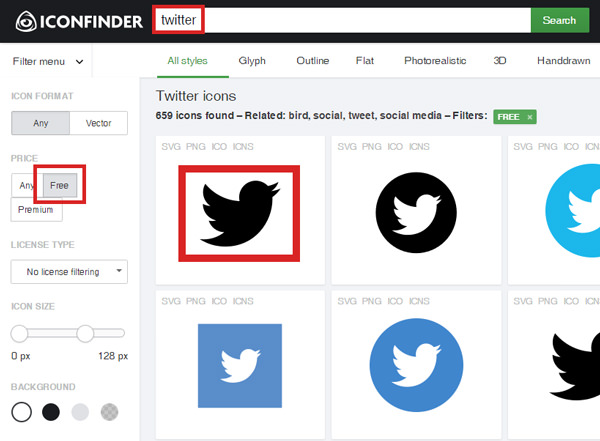 Twitter icon search on IconFinder