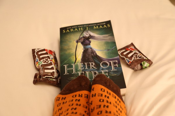 Reading Heir of Fire with M&Ms