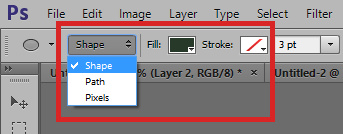 """Set ellipse tool to use """"Shape"""" setting"""