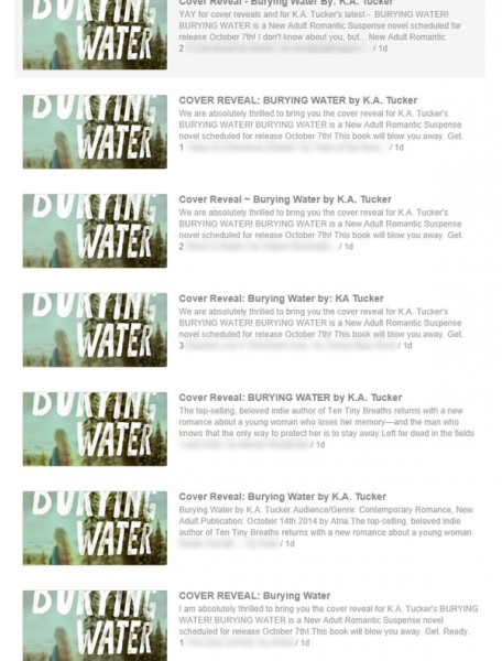 Cover reveals for Burying Water by K.A. Tucker