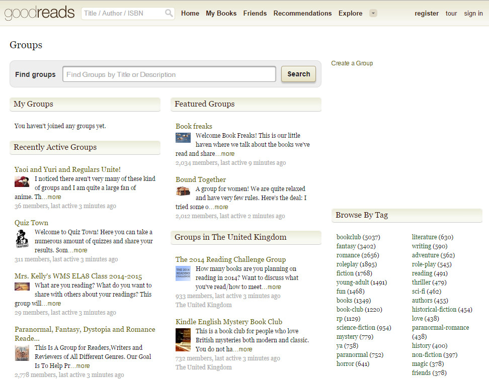 Goodreads groups overview