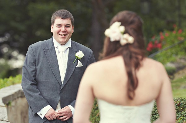 The groom's first look at the bride