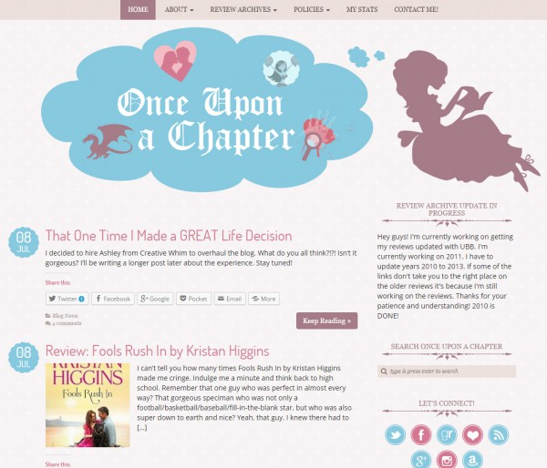 Once Upon a Chapter Blog Design