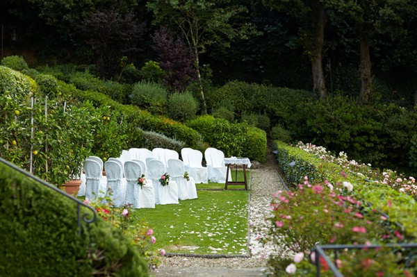 The wedding ceremony setting at Villa San Michele