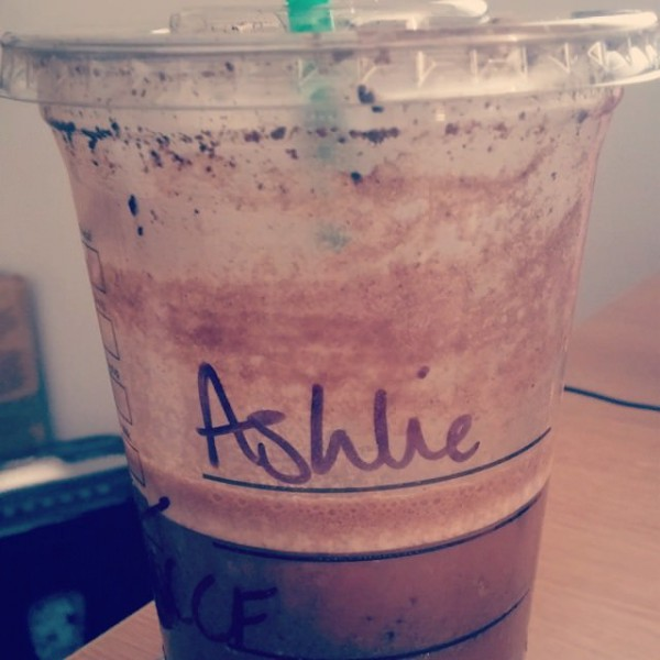 Starbucks Frappuccino with the name 'Ashlie'