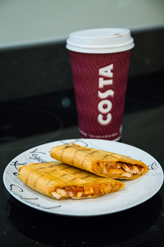 Costa hot chocolate and chicken fajita