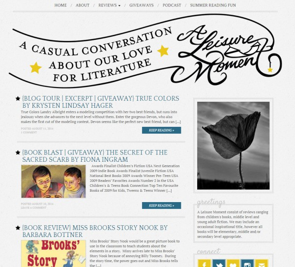 A Leisure Moment blog design