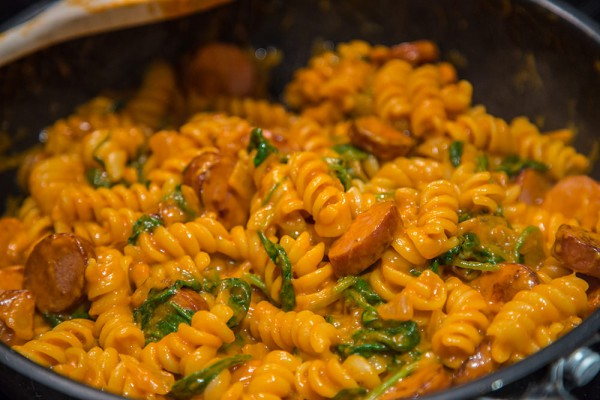 Pasta with sausage and spinach