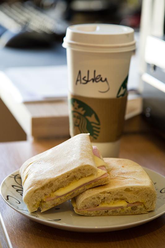 Starbucks hot chocolate and ham and cheese panini