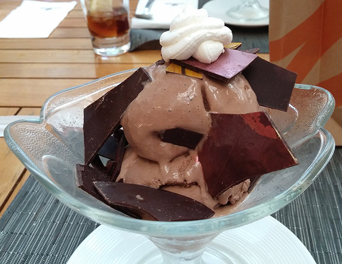 Chocolate ice cream with chunks of chocolate