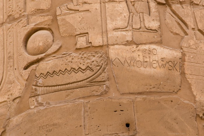 Graffiti on the columns in Karnak