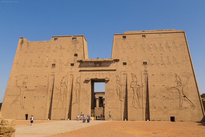 The front of the Temple of Horus at Edfu