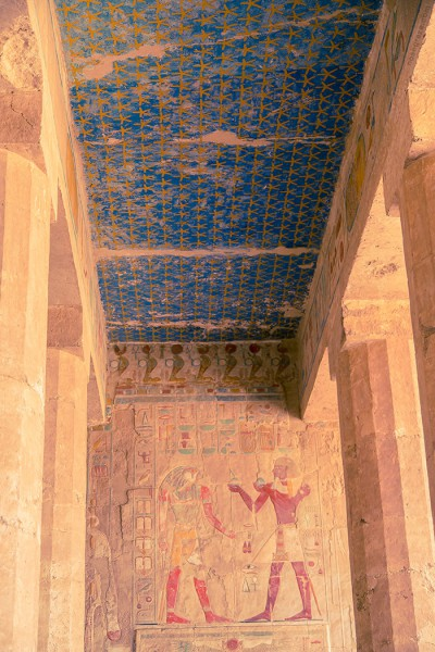 The ceiling and artwork in the Temple of Hatshepsut