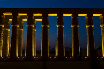 Backlit columns at the Temple of Luxor