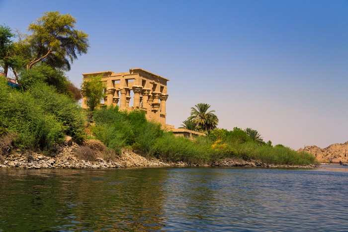 View of the Philae Temple from a boat