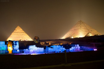 The sphinx and pyramids of Giza during the sound and light show