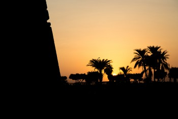 The sun setting at the Temple of Luxor