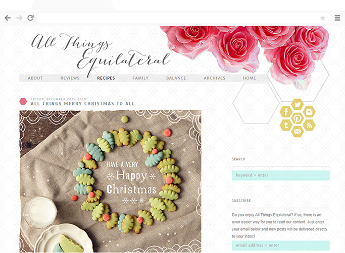 All Things Equilateral's blog design by Anna Marie Moore