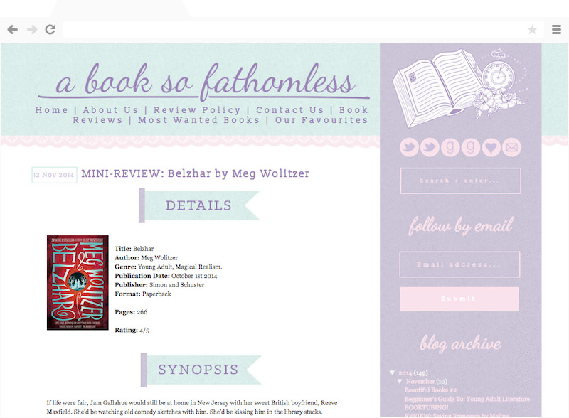 A Book so Fathomless blog design