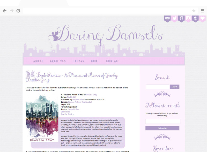 Daring Damsels blog design