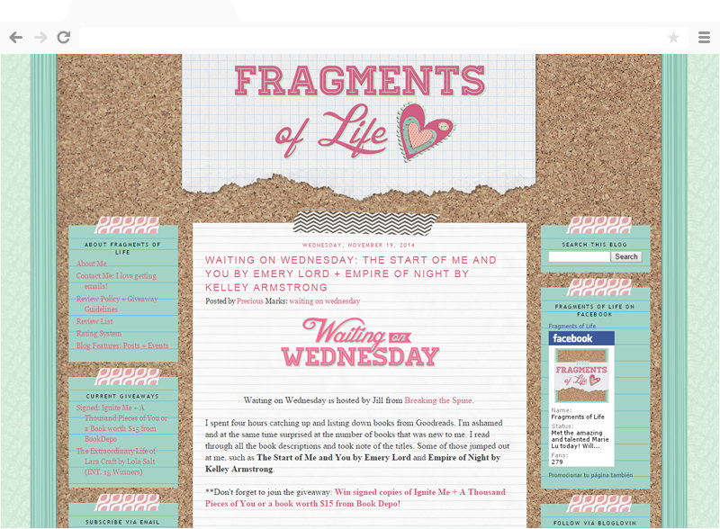 Fragments of Life blog design