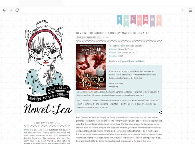 Novel Tea blog design by Anna Marie Moore