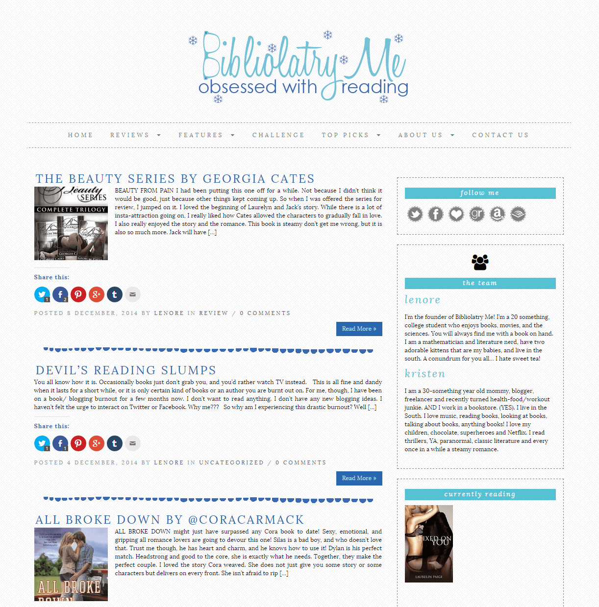Bibliolatry Me blog design