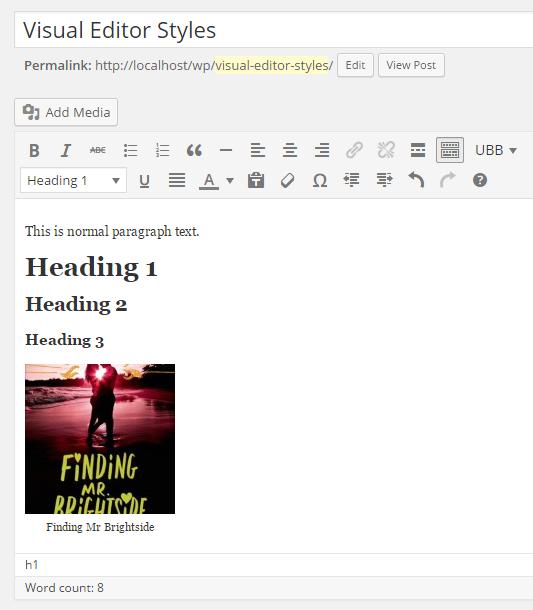 The default visual editor styles in WordPress