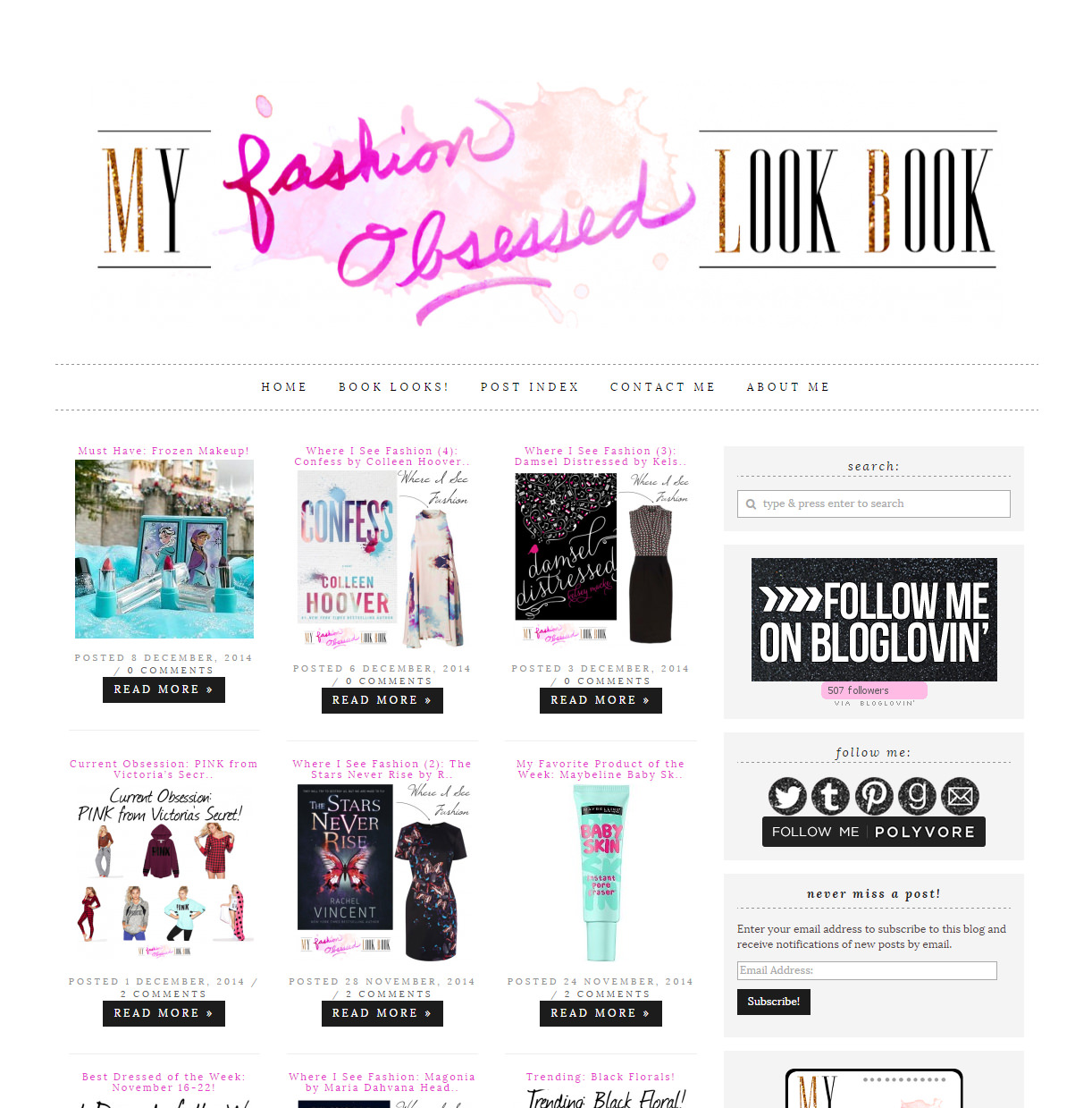 My Fashion Obsessed Look Book blog design