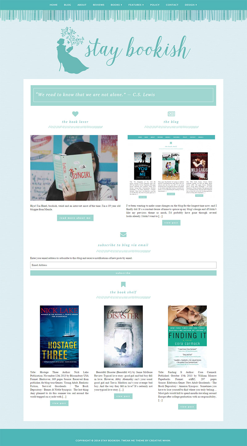 The homepage of Stay Bookish