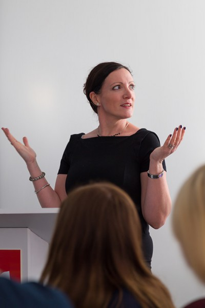 Eve Ainsworth, author of Seven Days, speaking to the bloggers